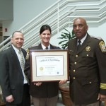 Gary M. Dillon, VLEPSC Program Manager, Lt. Kellie Meehan, Accreditation Manager, and Sheriff Glendell Hill