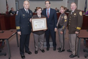 The Arlington County Sheriff's Office received their 5th VLEPSC award at their Board of Supervisors meeting on Tuesday, June 17, 2014.  (Chief Evans, Sheriff Arthur, Arlington County Board- Chair Jay Fisette, ShanShan and Major Mike Pinson)
