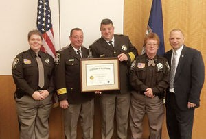 Danville Sheriff's Office has been re-accredited by the Virginia Law Enforcement Professional Standards Commission. From left are Deputy Crystal Conard; Lt. Col. Steve Salmon; Sheriff Mike Mondul; Cpl. Cathy Clark, accreditation manager; and Gary Dillon, Department of Criminal Justice Services accreditation program manager.